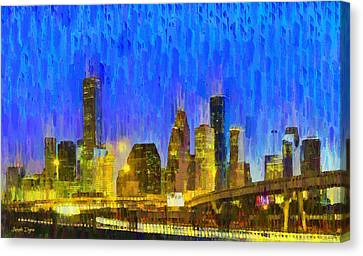 Houston Skyline 88 - Pa Canvas Print by Leonardo Digenio