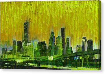 Houston Skyline 92 - Pa Canvas Print by Leonardo Digenio