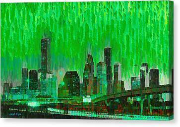 Skies Canvas Print - Houston Skyline 96 - Pa by Leonardo Digenio