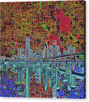 Houston Skyline Abstract 3 Canvas Print