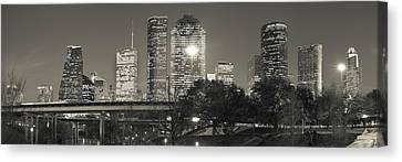 Houston Skyline At Dusk In Sepia - Panoramic Cityscape Image Canvas Print by Gregory Ballos