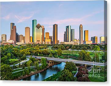 Houston Skyline At Dusk Canvas Print by Tod and Cynthia Grubbs