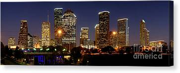 Houston Skyline At Night Canvas Print by Jon Holiday