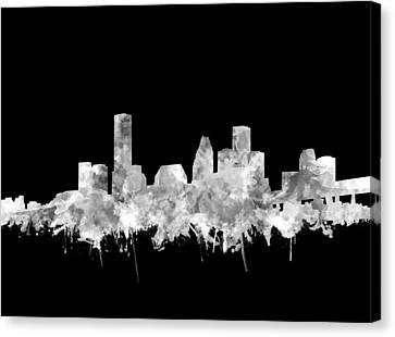 Houston Skyline Black And White 2 Canvas Print