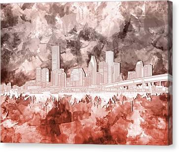 Modern Digital Art Digital Art Canvas Print - Houston Skyline Brush Strokes 3 by Bekim Art