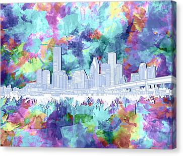 Modern Digital Art Digital Art Canvas Print - Houston Skyline Brush Strokes 7 by Bekim Art