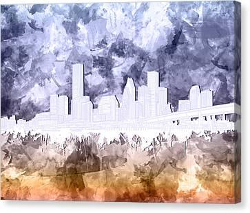 Houston Skyline Brush Strokes Canvas Print