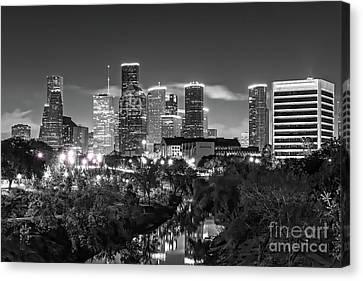 Houston Skyline From Buffalo Bayou Bw Canvas Print