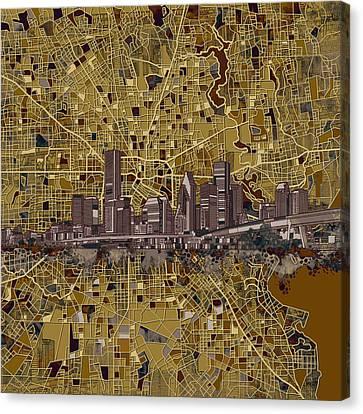 Houston Skyline Map 10 Canvas Print