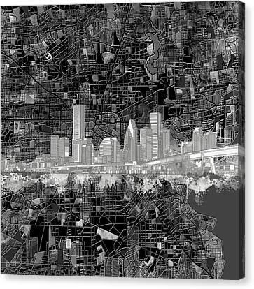 Houston Skyline Map 11 Canvas Print