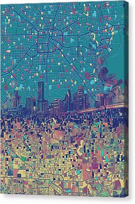 Houston Skyline Map 2 Canvas Print