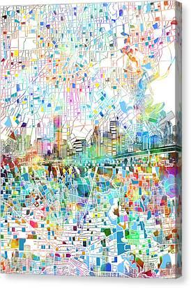 Houston Skyline Map 3 Canvas Print