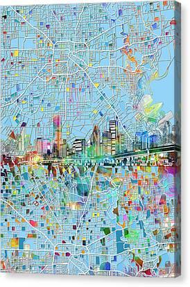 Houston Skyline Map 4 Canvas Print