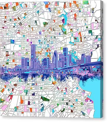 Houston Skyline Map 5 Canvas Print