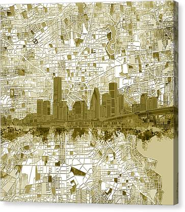 Modern Digital Art Digital Art Canvas Print - Houston Skyline Map 7 by Bekim Art