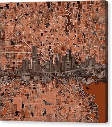 Houston Skyline Map 8 Canvas Print