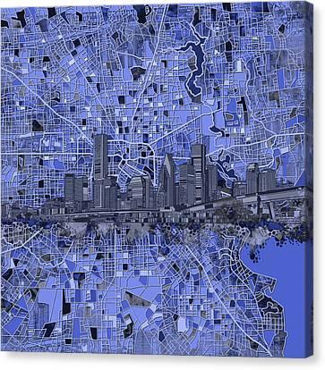 Houston Skyline Map 9 Canvas Print