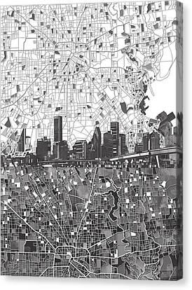 Houston Skyline Map Black And White 2 Canvas Print