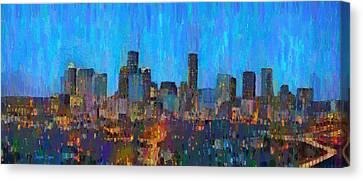 Houston Skyline Night 50 - Pa Canvas Print by Leonardo Digenio