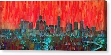 Houston Skyline Night 58 - Da Canvas Print by Leonardo Digenio