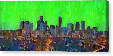 Houston Skyline Night 60 - Da Canvas Print by Leonardo Digenio