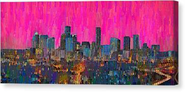 Houston Skyline Night 64 - Da Canvas Print