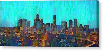 Houston Skyline Night 65 - Da Canvas Print by Leonardo Digenio