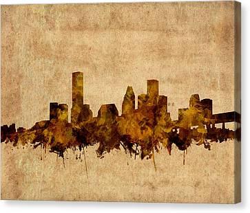 Houston Skyline Old Vintage Canvas Print