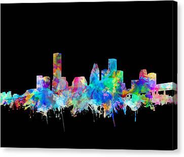 Houston Skyline Watercolor 1 Canvas Print