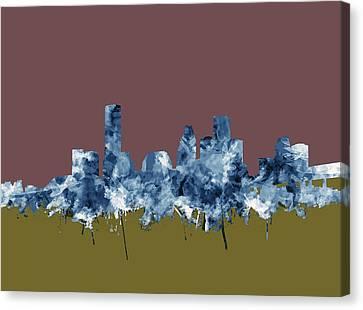Houston Skyline Watercolor 4 Canvas Print