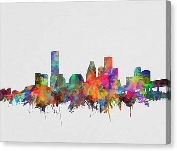 Houston Skyline Watercolor 5 Canvas Print