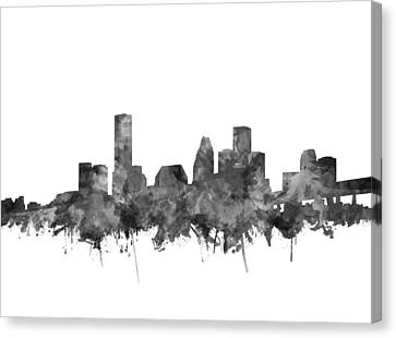 Houston Skyline Watercolor Black And White Canvas Print