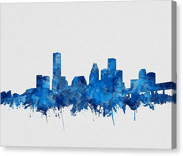 Houston Skyline Watercolor Blue Canvas Print