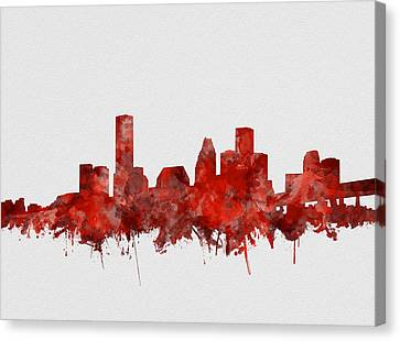 Houston Skyline Watercolor Red Canvas Print