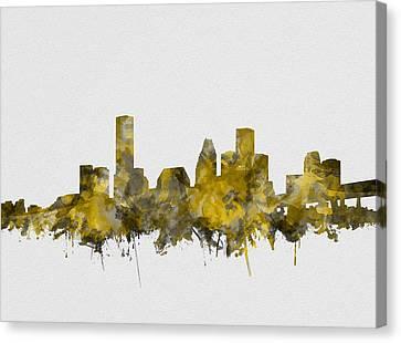 Houston Skyline Watercolor Sepia Canvas Print