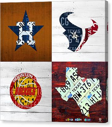Houston Sports Fan Recycled Vintage Texas License Plate Art Astros Texans Rockets And State Map Canvas Print by Design Turnpike