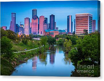 Streetlight Canvas Print - Houston Sunrise by Inge Johnsson
