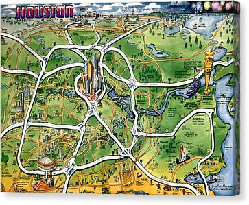 Houston Texas Cartoon Map Canvas Print by Kevin Middleton