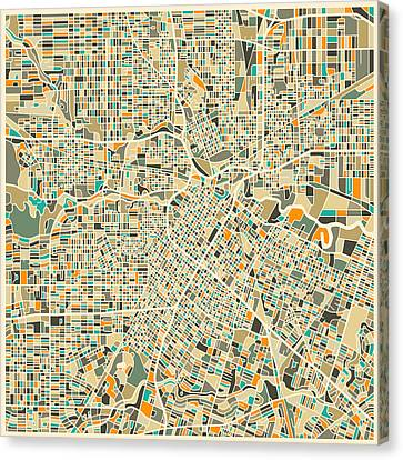 Houston Texas Map Canvas Print by Jazzberry Blue