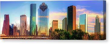 Houston Texas Panoramic Skyline At Sunset Canvas Print