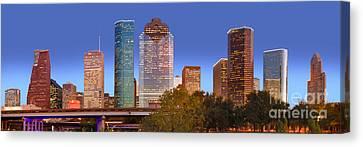 Urban Scenes Canvas Print - Houston Texas Skyline At Dusk by Jon Holiday