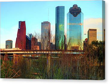 Houston Texas Skyline From Sabine Street Bridge Canvas Print