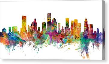 Houston Texas Skyline Panoramic Canvas Print by Michael Tompsett