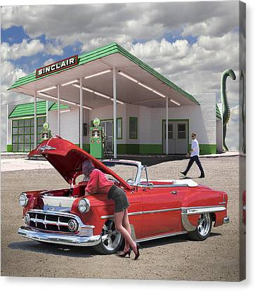 Over Heating At The Sinclair Station Canvas Print by Mike McGlothlen