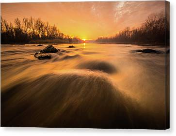 Canvas Print featuring the photograph Hovering Over The River by Davorin Mance