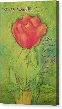Canvas Print featuring the drawing How Do I Love Thee ? by Denise Fulmer