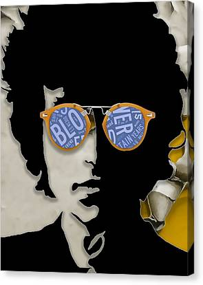 Rock And Roll Canvas Print - How Many Roads Bob Dylan by Marvin Blaine