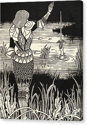 Ghost Story Canvas Print - How Sir Bedivere Cast The Sword Excalibur Into The Water by Aubrey Beardsley