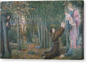 How The Virgin Came To Brother Conrad In Offia And Laid Her Son In His Arms Canvas Print