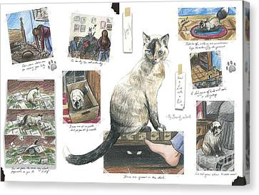 How To Live With A Cat Canvas Print by Brandy Woods